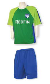 Seattle soccer uniform kit with royal shorts