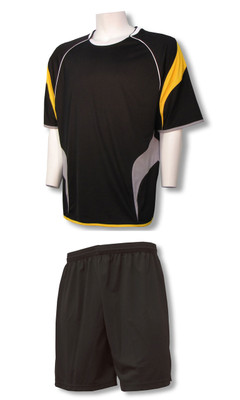 Columbus soccer uniform kit with black shorts