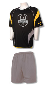 Columbus soccer uniform kit with silver shorts