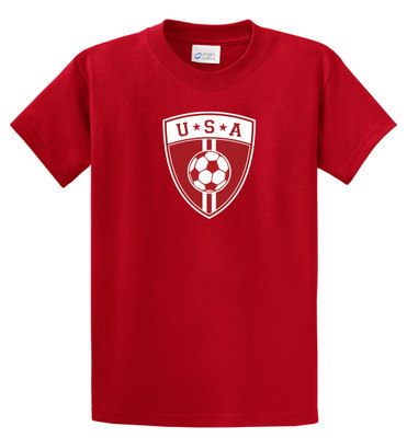 USA Soccer T shirt for youths, adults in red