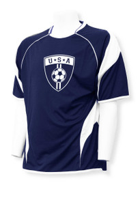 USA Soccer jersey in navy/white by Code Four Athletics