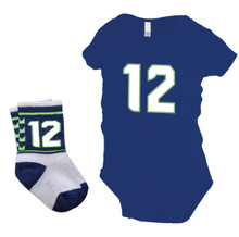 Seattle Seahawks Baby 12 Onesie and Socks Gift Set
