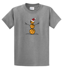 Basketball Snowman s/s tee in athletic gray