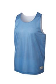 Reversible mesh pinny in Carolina Blue/White