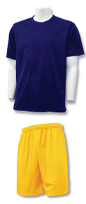 C4 Soccer Training Uniform Kit with navy jersey, gold shorts