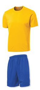 C4 Soccer Training Uniform Kit with gold jersey, royal shorts
