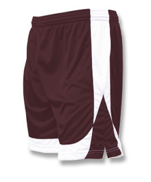 Omega soccer shorts in maroon/white