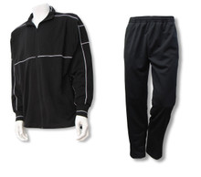 Sparta men's casual athletic warm up jacket-pant set, in black