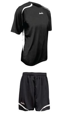 Diadora Stadio soccer uniform kit, in black