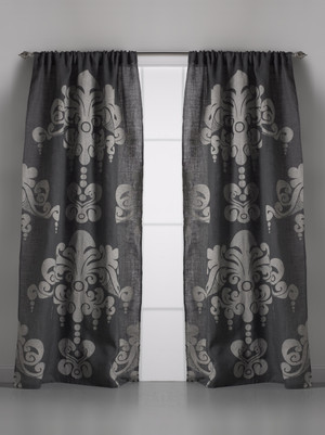 Enchantiqe Slate Grey Jute Window Curtain