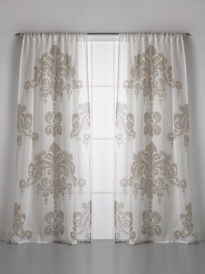 Couture Dreams Enchantique Ivory Sand Linen Gauze Window Curtain Pair