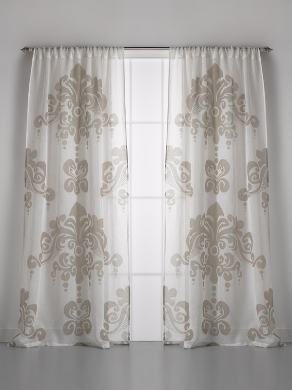 Couture Dreams Enchantique Ivory Sand Linen Gauze Window Curtain Pair