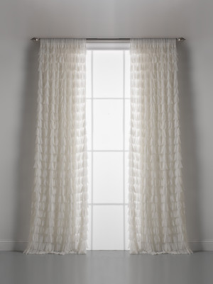 Couture Dreams Chichi Ivory Petal Window Curtain Pair