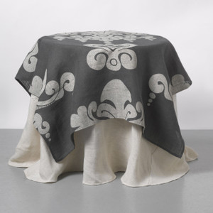 Couture Dreams Enchantique Slate Grey Table Topper with Solid Ivory Jute Table Cloth