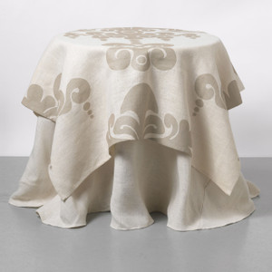 Enchantique Ivory Jute Table Topper with Solid Ivory Jute Table Cloth