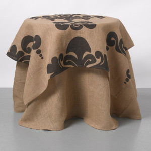 Enchantique Natural Jute Table Topper with Solid Jute Table Cloth