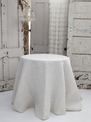 Solid Jute Ivory Tablecloth