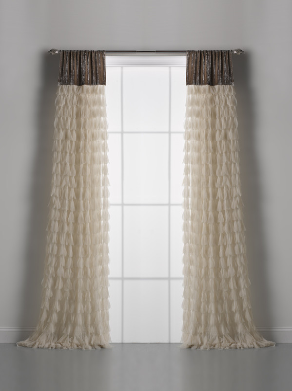 Couture Dreams Chichi Ivory Petal & Soft Earth Velvet Window Curtain Pair