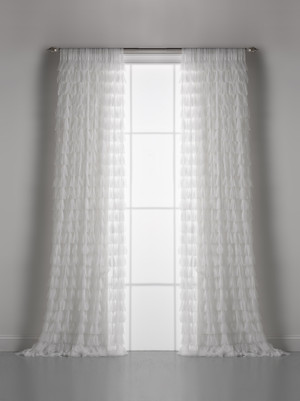 Couture Dreams Chichi White Petal Curtain Pair