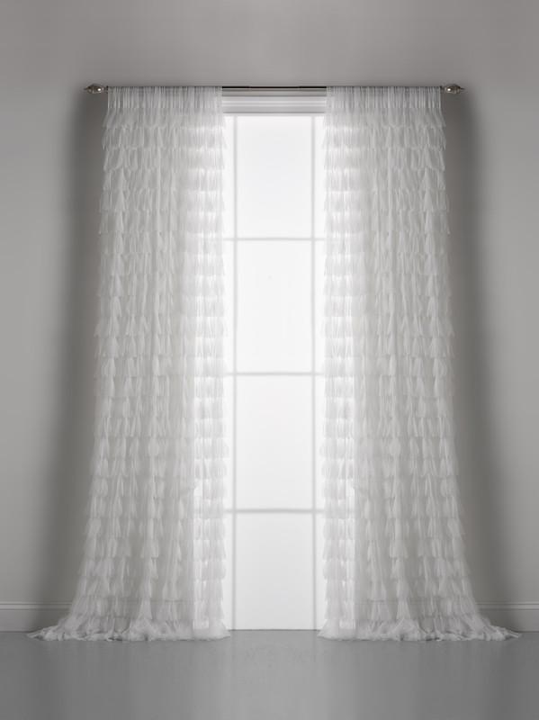 Couture Dreams Chichi White Petal Curtain Pair