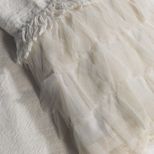 Couture Dreams Chichi Ivory Linen Decorative Throw Detail