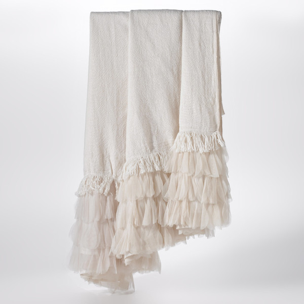 Couture Dreams Chichi Ivory Linen Decorative Throw