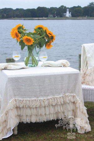 "Chichi Ivory Linen Tablecloth - 68"" Square"