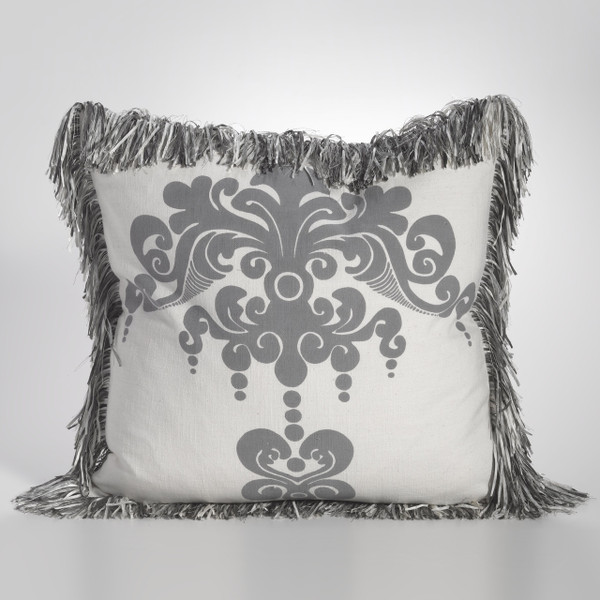 Couture Dreams Enchantique Dark Grey Pillow with Fringe