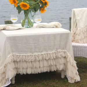 IMPERFECT Couture Dreams Chichi Ivory Square Linen Tablecloth