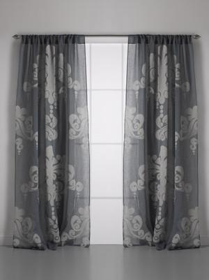 Couture Dreams Enchantique Slate Grey Linen Gauze Window Curtain Pair