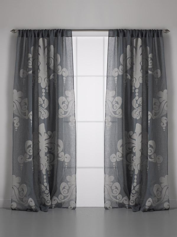 Couture Dreams Enchantique Slate Grey Linen Gauze Window Curtain Pair