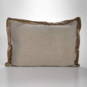 Couture Dreams Luscious Flax Linen Velvet Trimmed Standard Sham