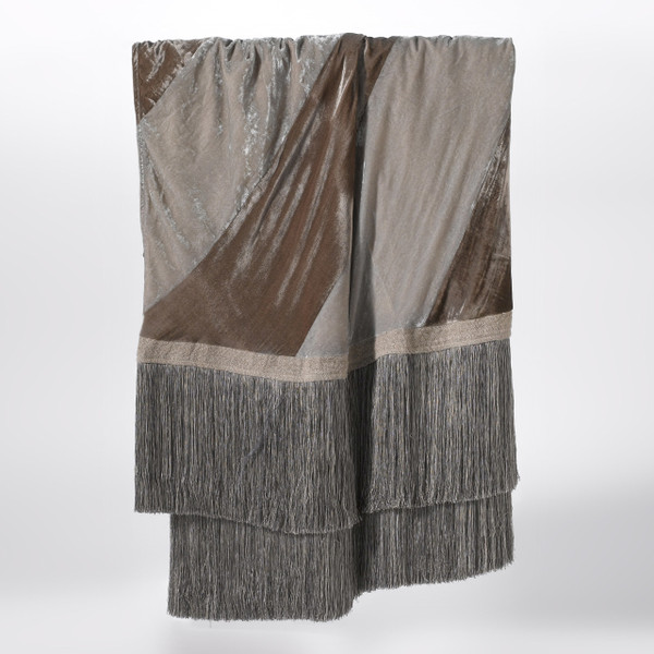 Couture Dreams Luscious Soft Earth & Platinum Silk Velvet Decorative Throw