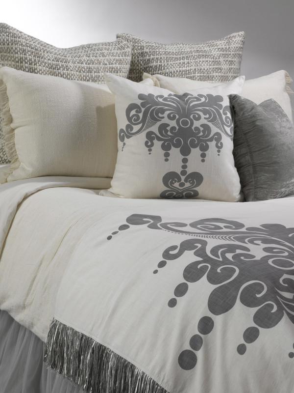 Whisper Ivory Linen Duvet, Whisper Ivory Standard Shams, Cozi Knit Euro Shams, Enchantique Decorative Pillow, Luscious Platinum Pillow, Whisper Grey Bed Skirt, Enchantique Dark Grey Decorative Throw