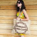 Kona Coffee Burlap Beach Bag