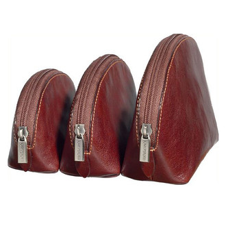 Prima Three-Size Cosmetic Travel Case Cognac