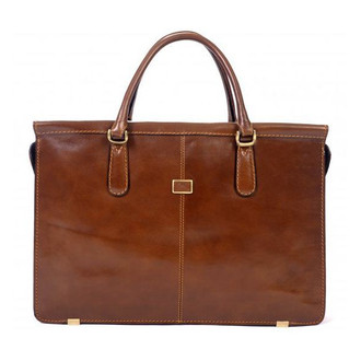 "Bella Fellini 17"" Double Compartment Bag PI029701 Cognac"