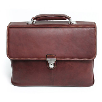 Lazio Triple Compartment Briefcase PG013002 Front Brown