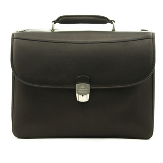 Milano Double Compartment Briefcase PC012001 Front Black