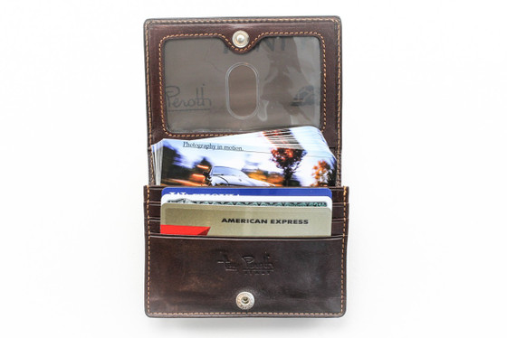 Ultimo Business and Credit Card Wallet with I.D. PI403301 Open With Card Brown