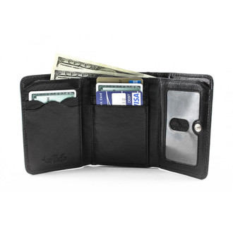 Ultimo Tri-fold with Framed Coin Pocket PI428702 Black