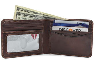 Prima Bi-Fold Wallet with I.D. PG418101 Front Open With Cards | Color Brown