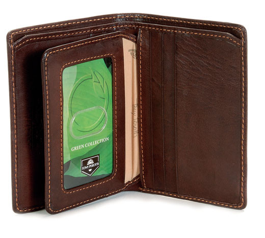 Prima Front Pocket Wallet with I.D. Flap Card Case PG418401 | Color Brown | Open