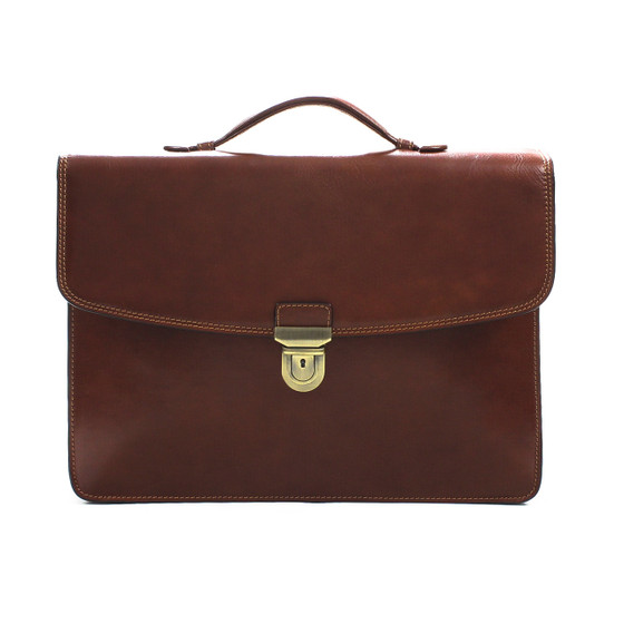 Single Compartment Document Briefcase PI011001 Front Brown