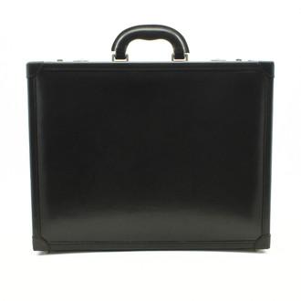 Venezia Leather Attache Case | Color Black | Leather Padded Corners