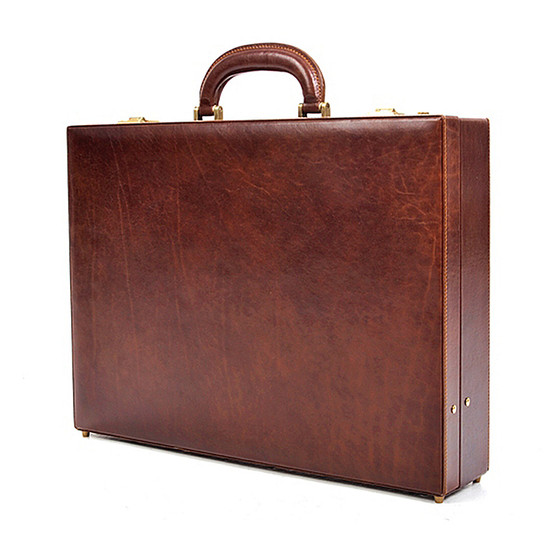 Amalfi Men's Leather Attache Case PI010202 | Color Brown | Front