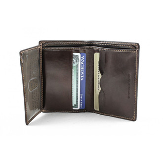 Ultimo Front Pocket Wallet with I.D. Window PI418220 Open With Card Brown