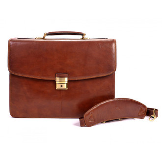 Parma Double Compartment Brief PI019701 Front With Shoulder Strap Brown