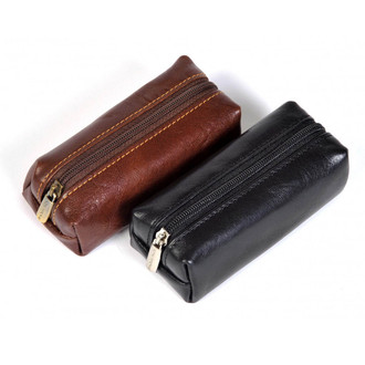 Italico Top-Zip Key Case PI500201 Black and Brown Zippered Gusset