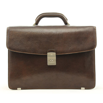 Giorgio Triple Compartment Briefcase | Brown | Front
